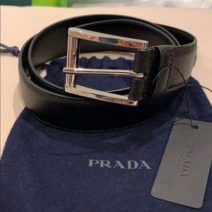 NWT Authentic Prada Leather Belt with receipt
